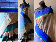 Beige saree with blue green and gold border and blue blouse