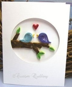 Birds kissing on a tree branch. quilling