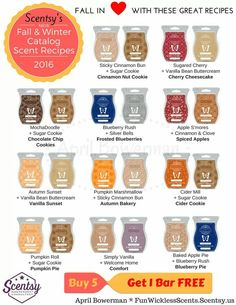 Scentsy Bars Recipes - Fall & Winter 2016 Catalog - Buy 5 Bars Get 1 FREE -  FunWicklessScents.Scentsy.us - My Watermark is on the Graphic