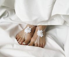 White Barefoot Sandals with Satin Flowers by ElvishThings on Etsy. Simple and tender nude shoes for your Special Day!