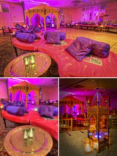 Soft seating areas ideal for Sangeet and Mehndi Night with carpet, lighting and Moroccan decor. Moroccan Party, Moroccan Theme, Moroccan Wedding, Festa Tema Arabian Nights, Arabian Nights Party, Arabian Party, Indian Theme, Indian Party, Indian Boy
