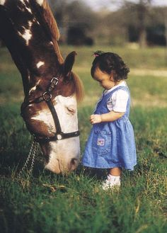 "I love how gentle most horses are with little ones. It's like the horse is saying, ""there you go---now you can reach me"""