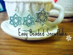 Beading4perfectionists : Snowflake earrings with Swarovski pearl and superduo's beading tutorial - YouTube