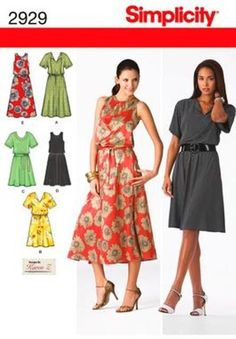 SIMPLICITY 2929 WOMENS PULLOVER DRESS with BODICE VARIATIONS 20W-28W