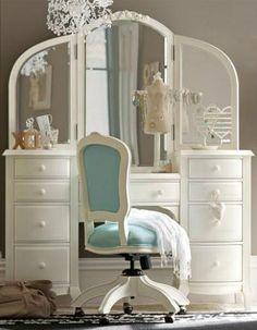 Home Design and Interior Design Gallery of Elegant Bedroom Vanity Teenage Girls Rooms Furniture Girls Bedroom Furniture, Furniture Vanity, Bedroom Decor, Rooms Furniture, White Furniture, Makeup Furniture, Vintage Furniture, Bedroom Ideas, Jugendschlafzimmer Designs