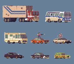 Vehicle sprites from #Aporkalypse Now. Can you guess the movie & cartoon…