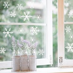 Wooopa Snowflakes Design for Winter and Christmas Window Decor Set - Static Adhesive PVC Sticker >>> For more information, visit image link. (This is an affiliate link) Christmas Items, Winter Christmas, Xmas, Christmas Signs, Christmas Window Decorations, Auto Glass, Snowflake Designs, Snowflakes, Adhesive