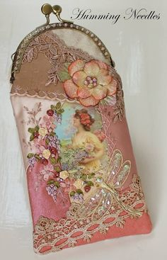 Ribbon embroidery, glasses case, Humming Needles