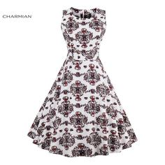 Charmian Women s Vintage Retro Dress Foral Print Rockabilly Christmas Dress  Hepburn Casual Party Swing Dress Vestidos f59c3000e59d