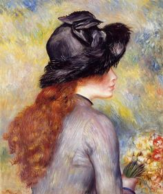 """PierreAuguste Renoir (1841-1919) """" Jeune fille tenant un bouquet de tulipes """""""