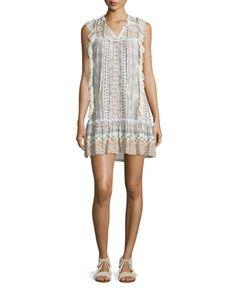 Sleeveless+Flounce-Hem+Dress,+Sedona+Print+at+CUSP.
