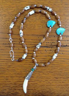 From my Men's Collection Coyote Tooth, wood, bone and turquoise .