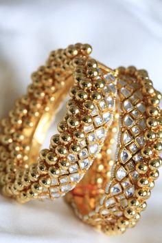 Kundan Jadtar Jadau Bangle - AristaBeads Jewelry - 6