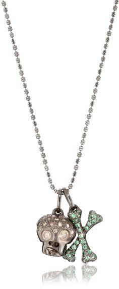 * Borgioni Charm Necklace with 18k Black Rhodium Gold, Brown Diamond Skull and Tsavorite Crossbones *
