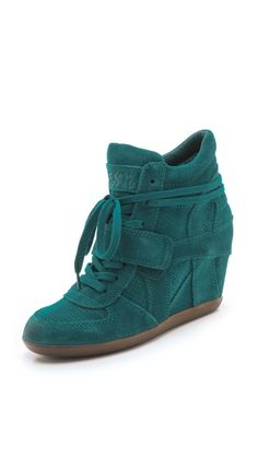 4210b34002c2 my obsession with heeled sneakers will never end. teal suede  YES PLEASE!  Wedge