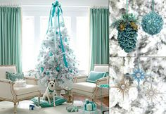 Teal and white Christmas tree. A simple tree, which looks amazing in the living room backdrop. The upholstery adds so much to this look. Exc...