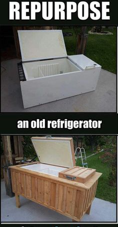 Repurpose an old refrigerator into an ice chest ~ this is amazing! If you need a HUGE ice chest, just be sure to add a lock to keep the kids out. Outdoor Projects, Home Projects, Repurposed Furniture, Diy Furniture, Repurposed Items, Furniture Design, Steel Furniture, Outdoor Furniture, Refurbished Furniture
