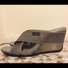 da4ecd7dad Anne Klein glitter wedge sandals