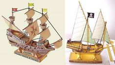 Tektonten Papercraft - Free Papercraft, Paper Models and Paper Toys: Galleon and Pirate Ship Paper Models