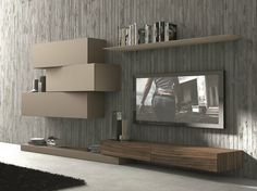 Sectional wall-mounted TV wall system InclinART - 263 by Presotto Industrie Mobili design Pierangelo Sciuto Canapé Design, Tv Unit Design, Tv Wall Design, House Design, Interior Design, Design System, Modern Design, Deco Tv, Tv Wall Decor
