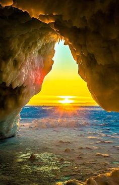 Gills Pier Ice Cave near Leland, Michigan #nature #beautifulnature https://biopop.com/