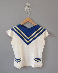 r e s e r v e d 1930s Blouse / Sailor Linen by wildfellhallvintage