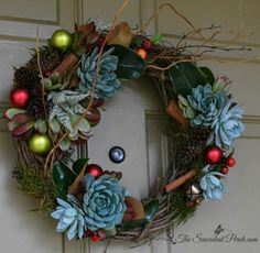 "Christmas Season Succulent Wreath, 18"" & 14"" via www.thesucculentperch.com shipped throughout the continental U.S."