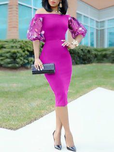 Vestido a media pierna con mangas bordadas Bardot Simple Dresses, Sexy Dresses, Beautiful Dresses, Evening Dresses, Elegant Dresses, Casual Dresses, Short Dresses, African Lace Dresses, African Fashion Dresses