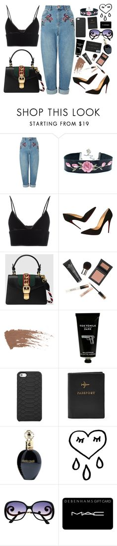 """""""i cant wait to go home"""" by cookieluvvv ❤ liked on Polyvore featuring Miss Selfridge, T By Alexander Wang, Christian Louboutin, Gucci, Borghese, TokyoMilk, GiGi New York, FOSSIL, Roberto Cavalli and MAC Cosmetics"""