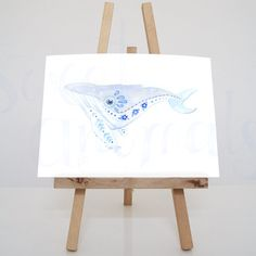 Originele illustratie van een walvis in blauwtinten. Deze aquarel maakte ik in een combinatie van Delfts blauw / boho en fantasiepatronen. Kijk op Etsy voor (verkoop)informatie: https://www.etsy.com/nl/shop/SweetAnimals #mdmcs #michelledeman #sweetanimals #nederland #kunst #delftsblauw