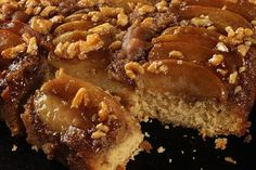 Spiced Caramel Apple Upside-Down Cake. Very yummy and fall festive. I substituted pecans instead of walnuts and apple sauce for milk equal quantities.