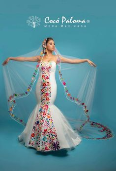 Love the veil but not the actual dress Bridal Dresses, Wedding Gowns, Prom Dresses, Wedding Bells, Charro Wedding, Mexican Themed Weddings, Mexican Beach Wedding, Mexican Wedding Traditions, Ethno Style