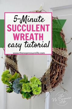 Love this easy DIY faux succulent wreath! Learn how to make this easy craft in just 5 minutes with this simple tutorial using fake succulents from the dollar store. It