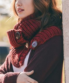 Another great find on #zulily! Red Button-Accent Infinity Scarf by Leto Collection #zulilyfinds
