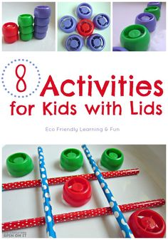 8 Activities for Kids with Lids for hours of Fun with a simple item from your house.  Save those lids!