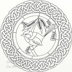 Blue Wren Celtic Knot Coloring Page by LorraineKelly