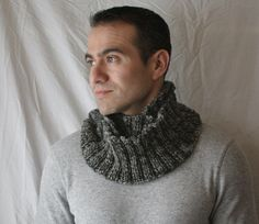 Hand knit Infinity Scarf Mens grey / dark by DaisyBelleDesignCo, $38.00