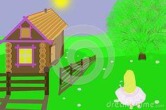 Happy girl picking darises.Illustration.