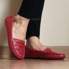 Sapato Mocassim Driver Feminino Conforto Couro Legítimo Alto Luxo Vermelho #casual #basico #moda
