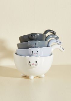 Meow for Measuring Cups. With just one glance at these amazing ceramic measuring cups by One Hundred 80 Degrees - as featured in Weight Watchers Magazine - I see two of my favorite things in one wonderful product. #multi #modcloth