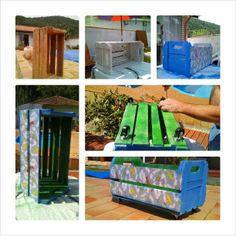 Caixa de brinquedos feito com caixotes de feira