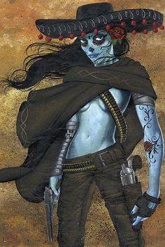 La Mujer by Jr Lintontattoo Art Print Day of The Dead Skull Sexy Gunslinger | eBay