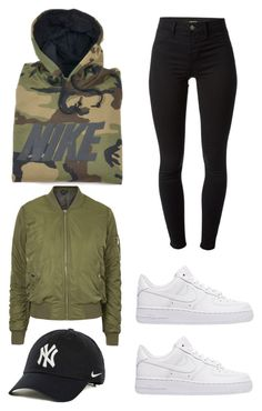 """Bish please."" by mindyabiznuz ❤ liked on Polyvore featuring NIKE, Topshop and J Brand"