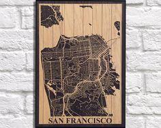 WOOD PRINT Wood map art, Rustic wood print, San Francisco city map panel effect art print on wood, Decor Rustic map of San Fran art print by Woodprintz on Etsy