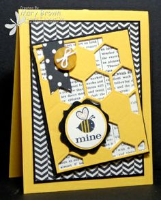 Bee Mine by stampercamper - Cards and Paper Crafts at Splitcoaststampers Hexagon Cards, Bee Cards, Gift Cards, Greeting Cards, Stamping Up Cards, Valentine Day Cards, Valentines, Card Sketches, Cool Cards