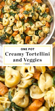 One pot creamy skillet tortellini dinner recipe. One pan pasta recipes are taking the world by storm! This vegetarian dish is a delicious meal to add to your routine of quick and easy weeknight meals! Pasta Facil, One Pan Pasta, Vegetarian Recipes Dinner, Meatless Pasta Recipes, Recipes With Pasta, Meatless Dinner Ideas, Quick Meals For Dinner, Yummy Dinner Recipes, Vegetarian Dishes Healthy