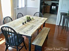 Pallet wood table. Cover an old table top with pallet wood.