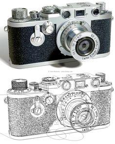 Leica Camera by Yukio Miyamoto Camera Art, Leica Camera, Vector Graphics, Vector Art, Gradient Mesh, Classic Camera, Photorealism, Research Projects, Vintage Cameras