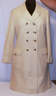 Vintage-Best-Company-New-York-Double-Breasted-Coat-Womens-Natural-Fiber