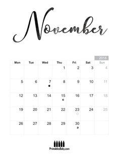 November 2018 calendar - Printables Baby - Free Printable Posters and Coloring Pages November Printable Calendar, 2018 Calendar Template, Custom Calendar, Calendar 2018, Moon Calendar, Free Poster Printables, Pregnancy Calendar, Planning Calendar, Calendar Organization